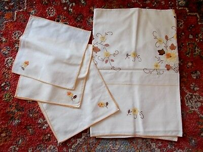 Cream Hand Embroidered Cotton Tablecloth & 6 Napkins~Applique Flowers In Baskets