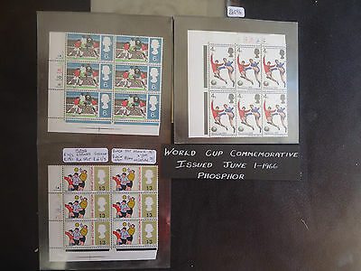 Great Britain 1966 World Cup (Full Set) (PHOS) (Cylinder Blocks 6) (Flaws) MNH