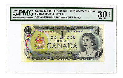 1973 $1 BANK OF CANADA PMG 30 EPQ BC-46aA RA10/12 REPLACEMENT STAR AA BANKNOTE