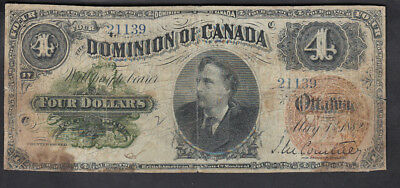 1882 Dominion Of Canada 4 Dollars Bank Note