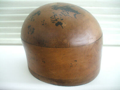 Original Antique Wooden Hat-Block/ Form/ Millinery/ Wigs 21 1/2Cm - Maker's Name
