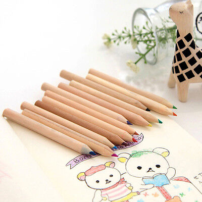 Painting Stationary Supplies 12 Colors Drawing Writing Pencils Plastic Pink AU