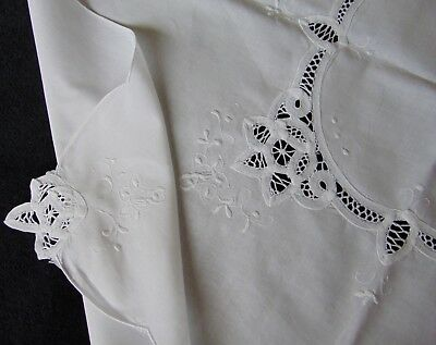 Vintage Unused Hand Embroidered Battenburg Lace Inserts Pure-Cotton Tablecloth