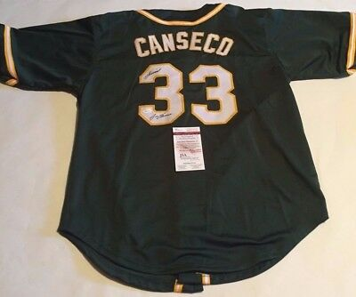 Jose Canseco Autographed Oakland A's Custom Green Jersey JUICED JSA Witness COA
