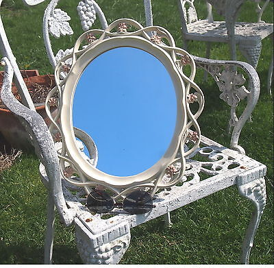 Vintage Ornate Syroco Flower Scalloped Wall Mirror Wall Desk