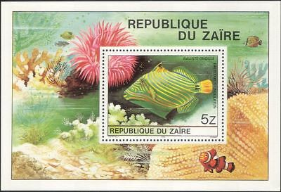 Zaire 1980 Tropical Fish/Triggerfish/Coral Reef/Marine/Nature 1v m/s (b5526)