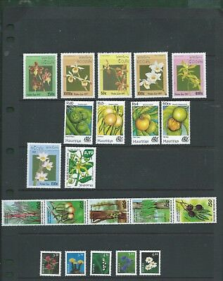 Laos Mauritius Indonesia Norway 21 beautiful Flowers stamps mint MNH Orchids