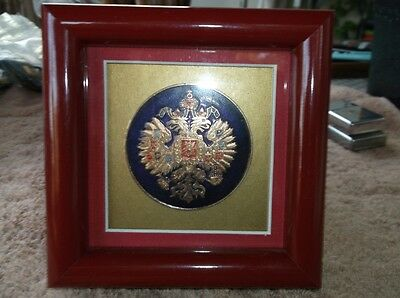 """Framed Russian Coat of Arms 2 1/4"""" Diameter - Red Frame 4 7/8"""" x 4 7/8"""""""