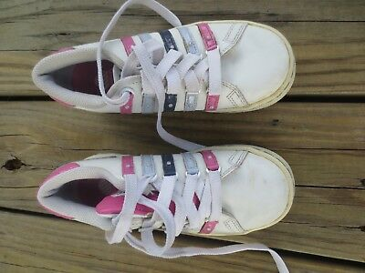 K-Swiss ~ Girls Leather Pink Blue Sneakers Shoes Tongue Twister ~ Size 1