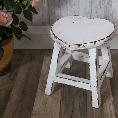 White Wooden Heart Stool Shabby Vintage Chic Country Bedroom Table Nursery Home