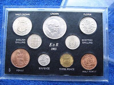 SUPERB 1965 COINAGE OF GB TYPE SET OF 9 COINS 52nd BIRTHDAY ANNIVERSARY GIFT
