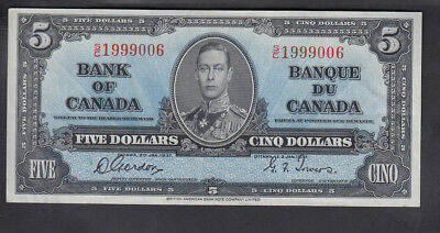 1937 Canada 5$ Dollars Bank Note Gordon/towers