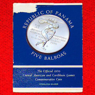 1970 Panama .925 Silver 5 Balboas Cac Games Commemorative Coin Sealed Authentic