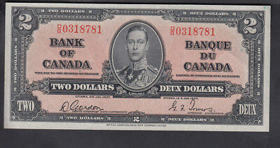 1937 Canada 2$ Dollars Bank Note Gordon/towers