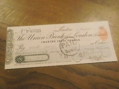 Victorian Cheque  - Union Bank Of London Charing Cross Branch Dated 1886