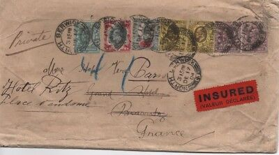 1904 Insured Envelope Berwick To France With Seal On Reverse