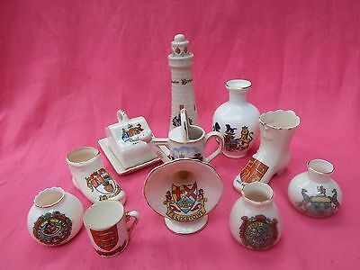 ARCADIAN Carlton & other Crested China 11 Various Ornaments incl Lighthouse
