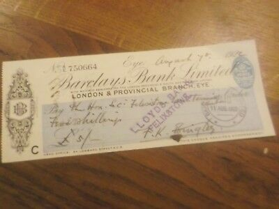 1922 Barclays Bank Amalgamated With London & Provincial  Eye  Bank Cheque