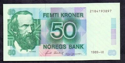 50 Kroner From Norway 1989 Unc