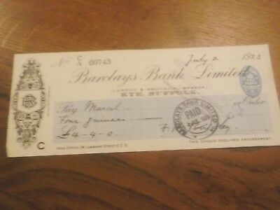 1923 Barclays Bank Eye Bank Cheque With  Westminster Bank Knightsbridge Crossing