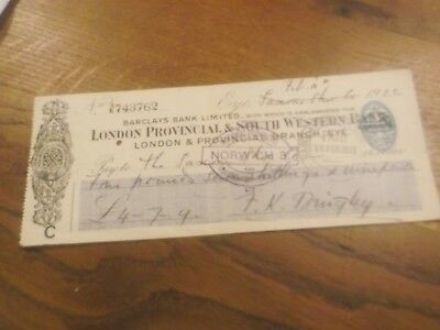 1922 Barclays Bank Amalgamated With London & Provincial South West  Bank Cheque