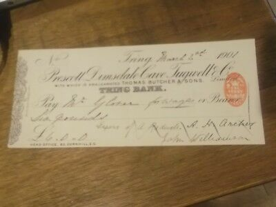 1901 Tring Bank Cheque  - Prescott Dimsdale Cave Tugwell & Co
