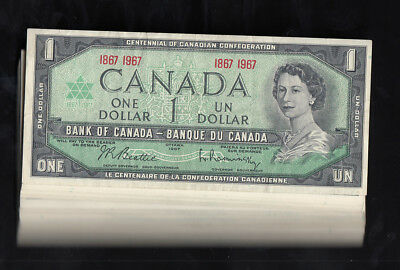 1967 Canada 1$ Dollar Bank Note No Serial Lot Of 100