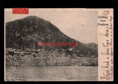 HONG KONG GREETINGS FROM Kingshill POSTCARD 1905 Victoria & Manila Cds - 47