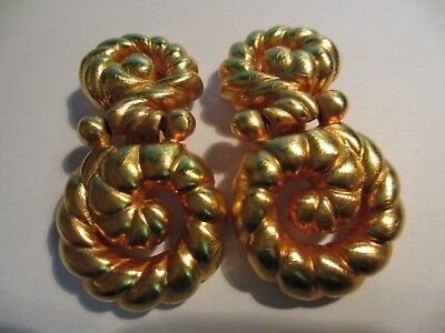 Magnificent Couture Heavy Karl Lagerfeld Huge Gold Tone Earrings-56 Grams! Xnice