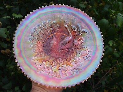 Carnival Glass.Northwood Stippled Peacock's Plate.Thin Base.Ribbed Exterior.VGC.
