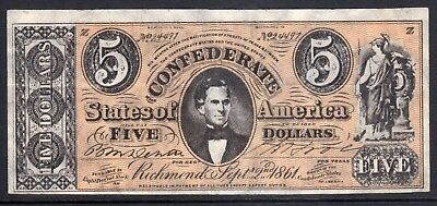 USA Confederate $5 note dated 1961 used (31)