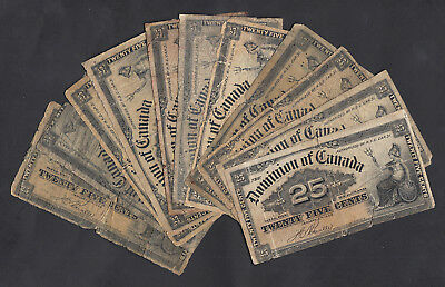 1900 Dominion Of Canada 25 Cents Bank Note Lot Of 11