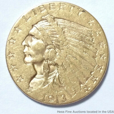 1913 Indian Head Quarter Eagle $2.5 United States American Gold Coin