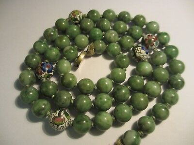 Fine Old Antique Chinese 8-9Mm Jade Bead Necklace W/silver Clasp-Nice&old Beads!