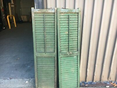 "Pair c1880 louvered window house shutter old green MAINE 57.75"" x 15.5""x 1.25"""