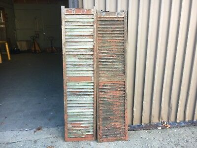 "PaiR victorian louvered house window SHUTTERS worn PAINT SURFACE 71"" H x 17"" W"