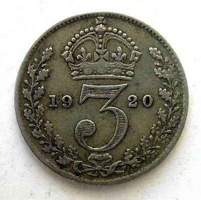Great Britain Uk Coins, Threepence 1920, George V, Silver .