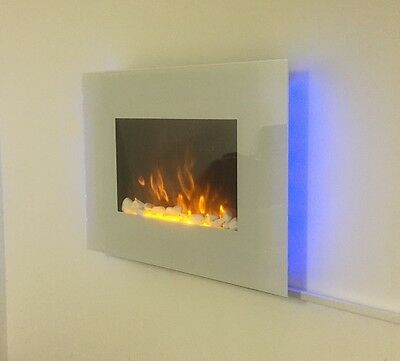2017 Truflame 7 Colour Led White Glass Flat Electric Wall Mounted Fire