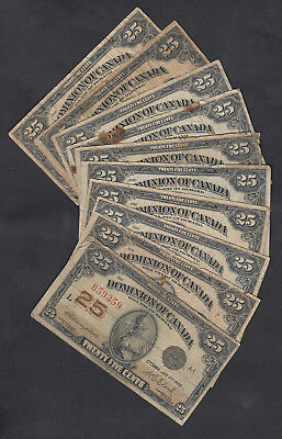 1923 Dominion Of Canada 25 Cents Bank Notes Lot Of 10