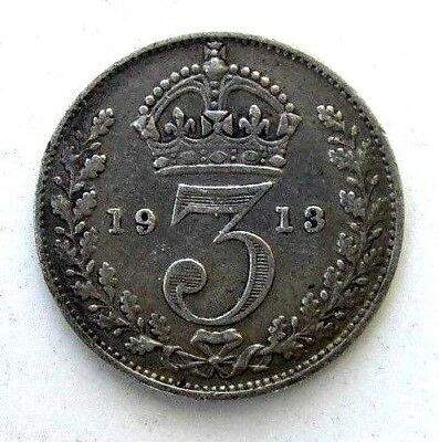 Great Britain Uk Coins, Threepence 1913, George V, Silver 0.925