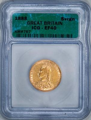 1888 Great Britain ICG XF40 Gold Full Sovereign Item#J1458