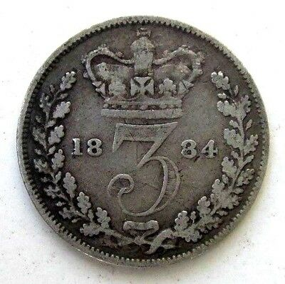Great Britain Uk Coins, Threepence 1884, Victoria, Silver 0.925