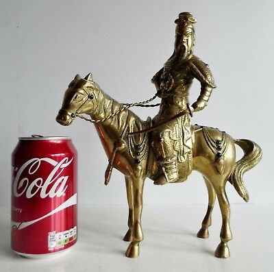 Very Interesting Old Brass Oriental Figure On Horseback - Coloured Glass Stones