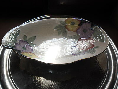 Vintage Maling Oyster Lustre Bowl With Floral Decoration