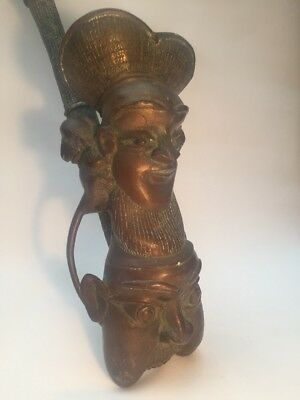 Antique African Bronze Ceremonial Pipe Bamileke Cameroon 19thC.
