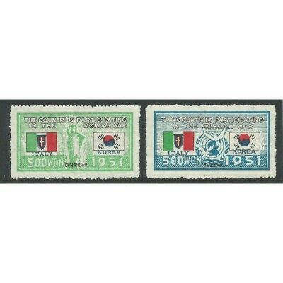 1951 Corea Del Sud South Korea Guerra Corea Bandiera Italiana 2 V Mlh Mf27778