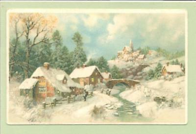 Christmas Greetings Postcard, Hold to Light, Church in Village Scene  138