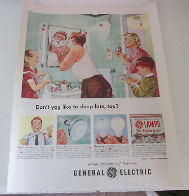 1949 original ad GE General Electric bulbs Family Helps Dad Get Ready for Work
