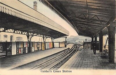London Golder's Green Railway Station Platform & Track & Adverts Printed Card