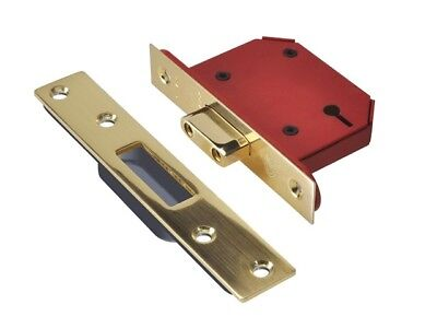 Union Y2103S-PB-2.5 StrongBOLT Polished Brass 3 Lever Mortice Dead Lock Visi
